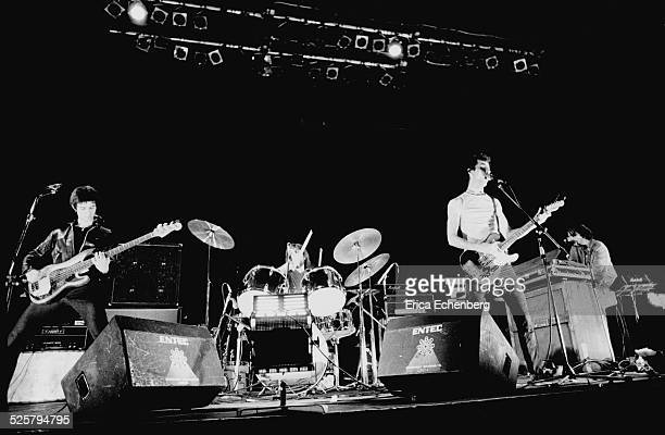 The Stranglers perform on stage at The Rainbow Theatre, Finsbury Park, London, United Kingdom, January 30th 1977. L-R Jean-Jacques Burnel, Jet Black,...