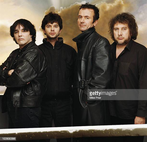 The Stranglers posed in London in May 1988 LR Dave Greenfield JeanJacques Burnel Hugh Cornwell Jet Black