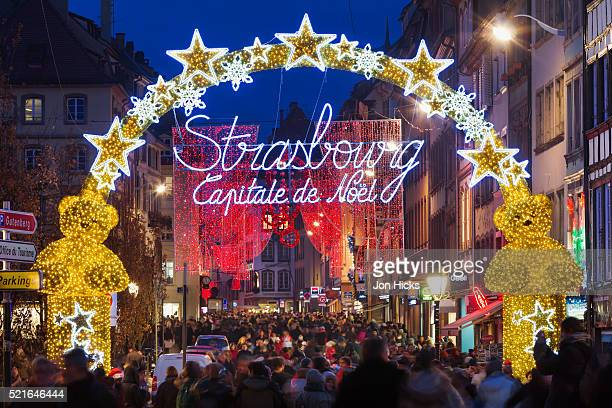 The Strasbourg, Capitale de Noël sign in Strasbourg Christmas Market.