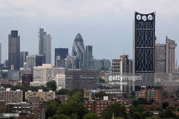 The Strata Tower stands against the City of London skyline on August 12 2010 in London England The newly built Strata Tower which has three wind...