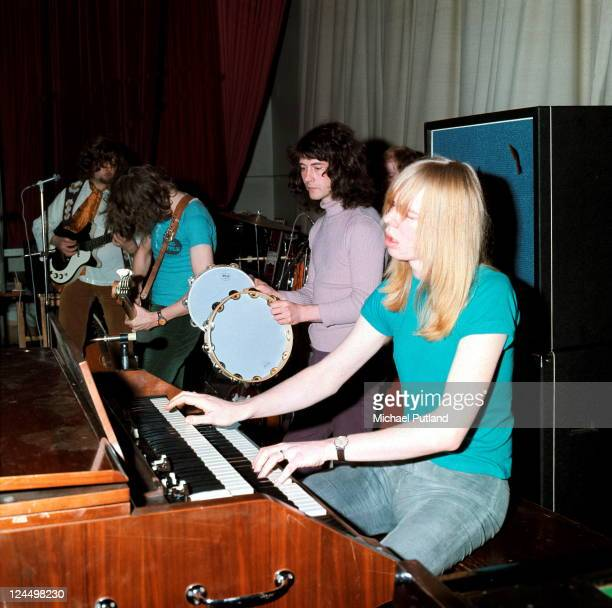 The Strawbs perform on stage at Ealing Town Hall London 3rd March 1971 LR Dave Cousins John Ford Tony Hooper Rick Wakeman