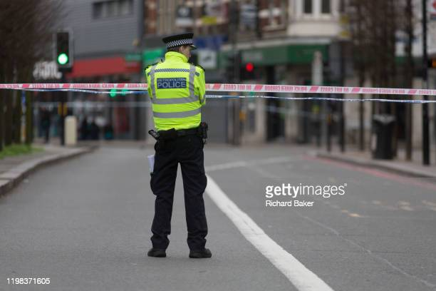 The Streatham High Road remains closed 24hrs after the terrorist attack in south London in which Sudesh Amman was shot dead by police after stabbing...