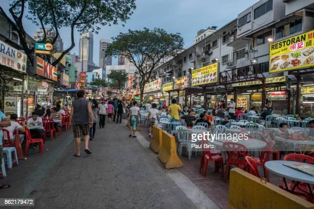 The street food night market on Jalan Alor in central Kuala Lumpur, Malaysia