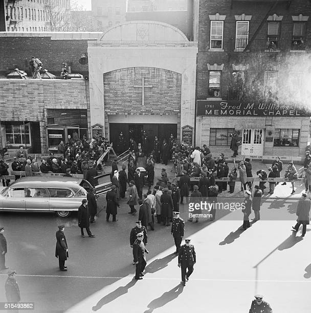 The street in front of the Faith Temple is crowded with policemen Feb. 27th as the casket containing the body of slain Negro extremist leader Malcolm...