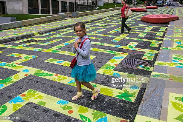 The street in front of the Montreal Museum of Fine Arts is playfully decorated as viewed on June 28 2015 in Montreal Quebec Canada Montreal the...