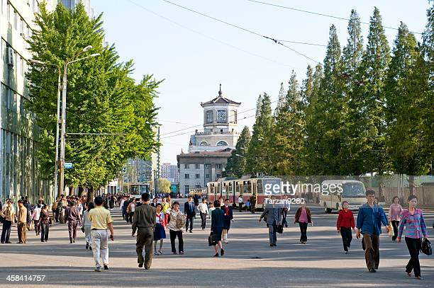 the street in pyongyang - pyongyang stock pictures, royalty-free photos & images
