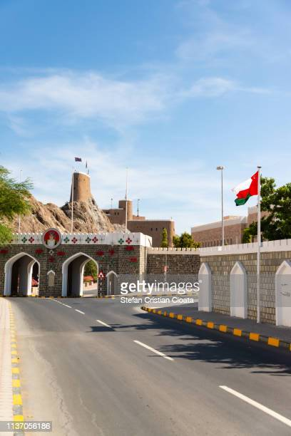 the street into old town muscat, oman - arabian peninsula stock pictures, royalty-free photos & images