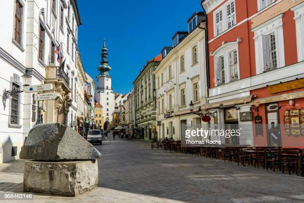 the street leading to michael's gate - bratislava stock pictures, royalty-free photos & images