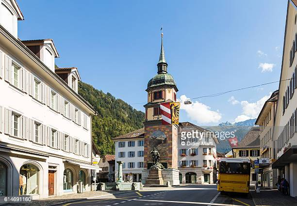 The street of Altdorf with the Wilhelm Tell memorial, Uri, Switzerland