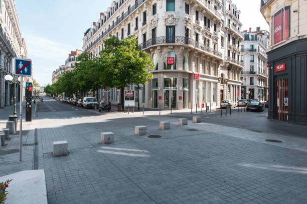 The street of Président Carnot, deserted in Lyon, France, without car and people during Covid-19 lockdown in France, April 2020
