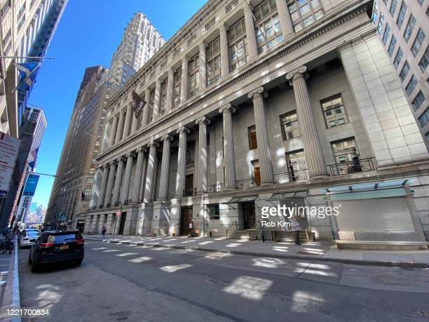 The street remains empty at Cipriani Wall Street during the coronavirus pandemic on April 28, 2020 in New York City. COVID-19 has spread to most...