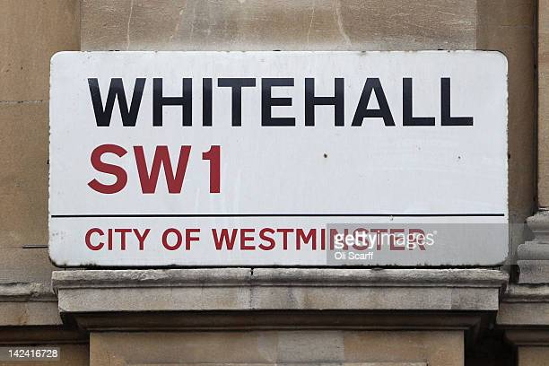 The street sign for Whitehall which features on the London version of the Monopoly board game on April 4 2012 in London England
