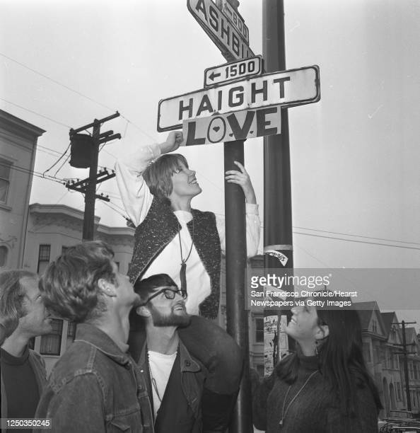 The street sign is changed at the corner of Haight and Ashbury to include LOVE, March 1, 1967. Sharon Sweeney got an assist from Larry Sweeney and...