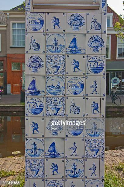 The street view in Netherlands, canal and Delft pottery, Delftware
