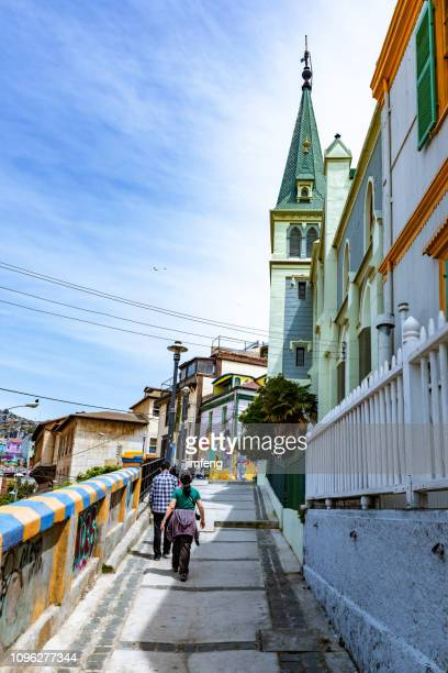 the street view in valparaíso city, chile - valparaiso chile stock pictures, royalty-free photos & images