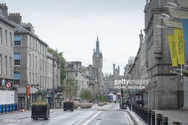 The streets are deserted in Aberdeen, eastern Scotland on August 5 following the announcement that a local lockdown has been imposed on the city...