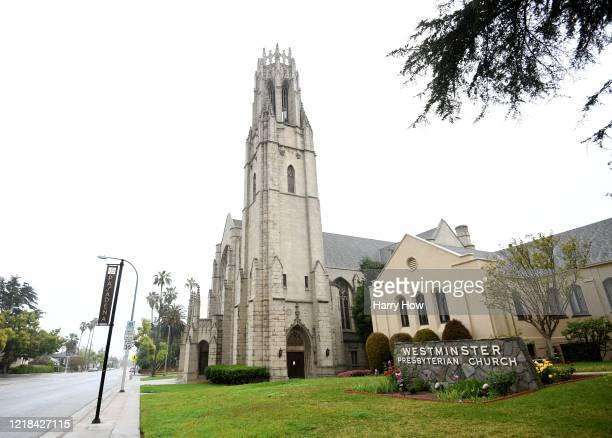 The streets are empty around Westminster Presbyterian Church Easter morning on April 12, 2020 in Pasadena, California. This Easter many places of...