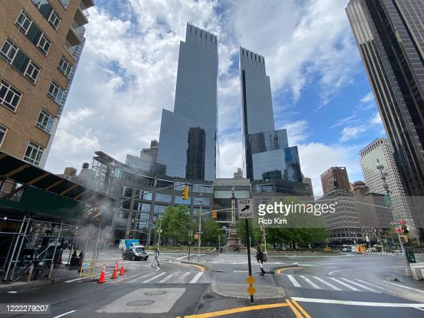 The streets are mostly deserted near Time Warner Center during the coronavirus pandemic on May 1, 2020 in New York City. COVID-19 has spread to most...