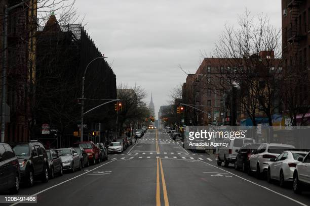 The streets are seen empty in New York City United States due to Covid19 pandemic on March 29 2020 The death toll from the new coronavirus in the US...