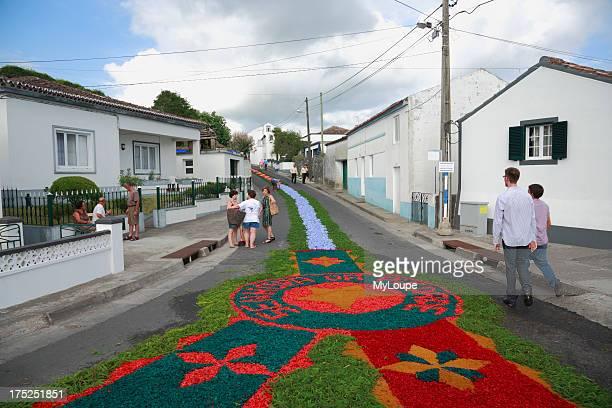 The streets in the parish of Ponta Garca decorated with flower carpets for the procession of Nossa Senhora da Piedade Sao Miguel island Azores