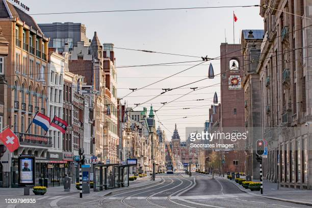 The streets of Amsterdam are empty as the lockdown continues due to the coronavirus outbreak on April 12 2020 in Amsterdam Netherlands The number of...