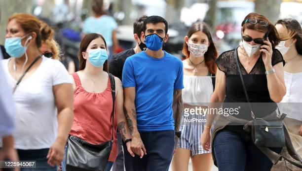 The streets of Barcelona on the first day of mandatory use of the mask in Catalonia by order of the Catalan Government in Barcelona on 09th July 2020
