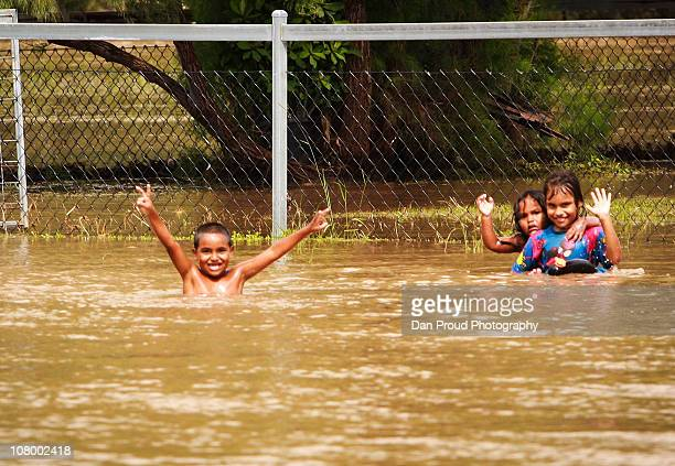 The streets of Dalby are still inundated with water from the Myall Creek on January 12 2011 in Dalby Australia Twelve people so far have been...