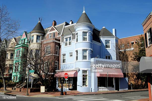 the streets of georgetown in washington - terraced_house stock pictures, royalty-free photos & images