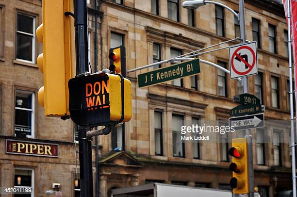 The streets of Glasgow, Scotland altered to look like Philadelphia for the filming of a movie. Street signs, names and traffic lights were added to...