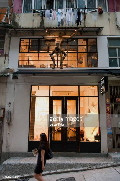 The streets of Hong Kong neighbourhood Sheung Wan one of the city's latest neighbourhoods to start gentrifying with shops restaurants and galleries