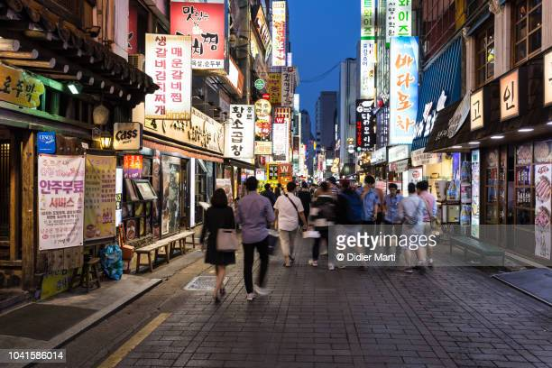 the streets of insadong in seoul at night, south korea - seoul stock pictures, royalty-free photos & images