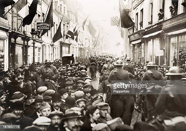 The streets of Namur just after the cavalry preceding the Canadian forces entered the town prior to Armistice Day during World War One circa November...