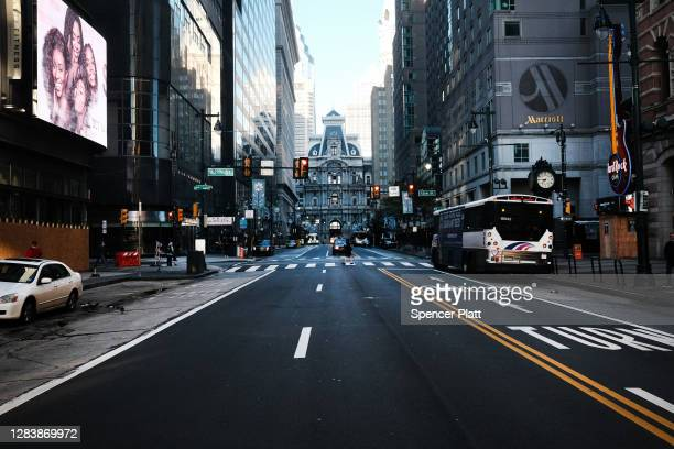 The streets of Philadelphia remained quiet the morning after Americans voted in the presidential election on November 04, 2020 in Philadelphia,...