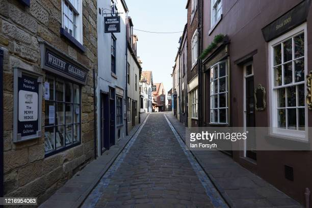 The streets of Whitby remain empty as visitors observe the guidelines during the Coronavirus pandemic lockdown on April 05, 2020 in Whitby, United...