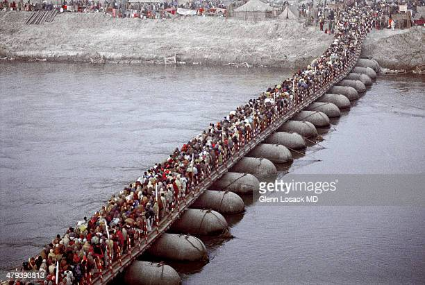 The stretch of MILLIONS 60 or more across the GANGES THIS IS THE KUMBH MELA in ALLAHABAD, INDIA. EVERY 12 years in this city. THE LARGEST OF KUMBH...