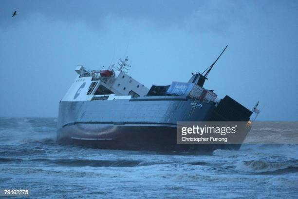 The stricken ferry 'Riverdance' lists as it sits on a sandbank at Blackpool's North Shore on February 1 Blackpool England Fourteen people were...