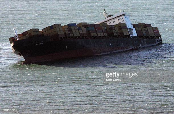 The strickened container ship MSC Napoli is seen off the Devon coast January 21 2007 at Branscombe England The container ship was beached off the...