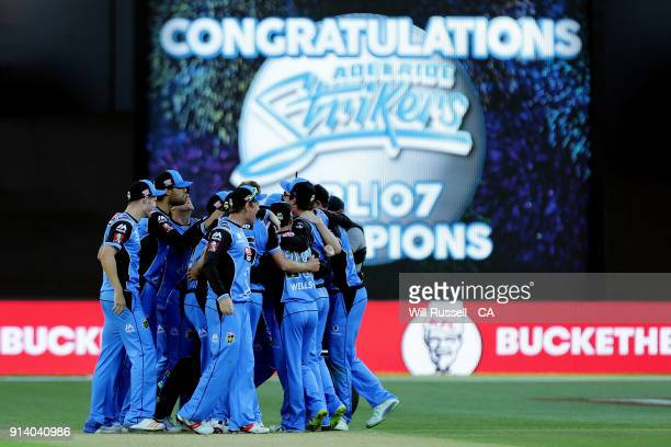The Strikers celebrate after defeating the Hurricanes during the Big Bash League Final match between the Adelaide Strikers and the Hobart Hurricanes...