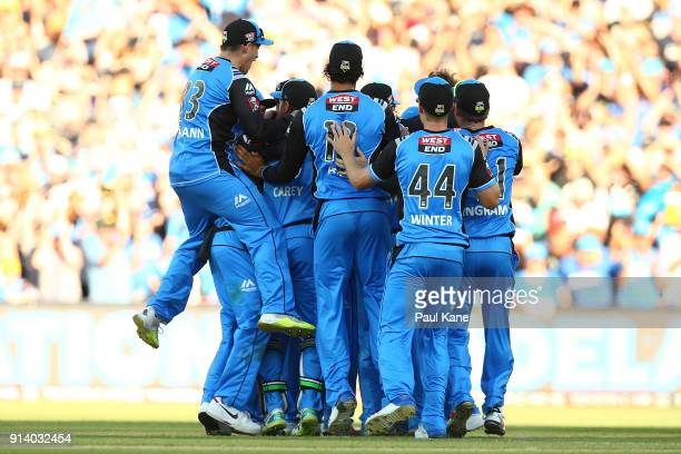The Strikers celebrate winning the Big Bash League Final match between the Adelaide Strikers and the Hobart Hurricanes at Adelaide Oval on February 4...