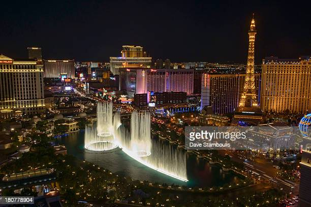The Strip and Bellisario Fountains at night in Las Vegas, Nevada