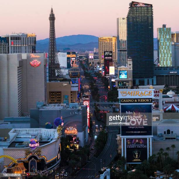 The Strip at Sunrise in Las Vegas, Nevada, USA