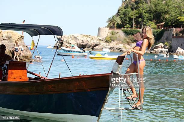 The Striscia la Notizia velina Costanza Caracciolo photo shooted on a boat Taormina Italy 29th July 2009