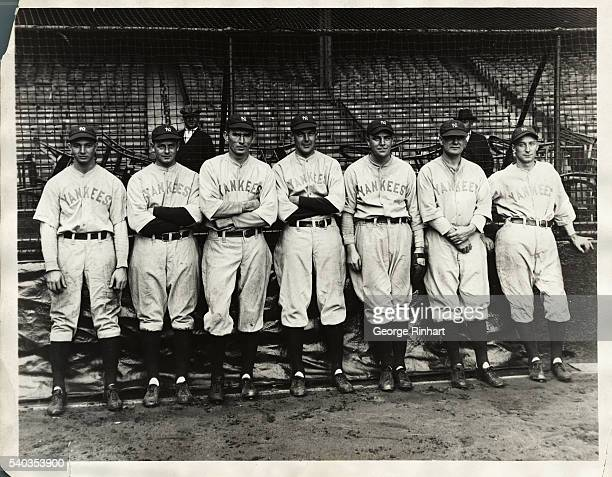 The strong pitching staff of the Yankees- left to right, Henry Johnson, Waite Hoyt, Tom Zachary, George Pipgras, Rosy Ryan, Heimach, and Myles Thomas.