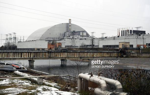 The structure of the New Safe Confinement covering the 4th block of the Chernobyl Nuclear Power Plant which was destroyed during the Chernobyl...