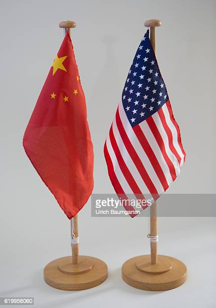 The struggle for the leadership position in the world The photo shows the flags of China and the United States of America