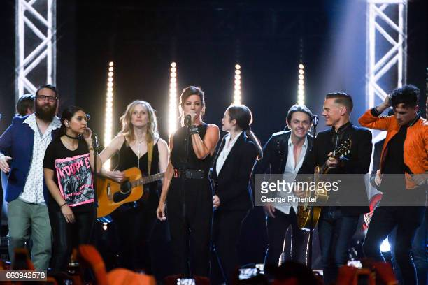 The Strumbellas Alessia Cara Sarah Mclachlan July Talk Bryan Adams Arkells and Dallas Smith perform at 2017 Juno Awards at Canadian Tire Centre on...