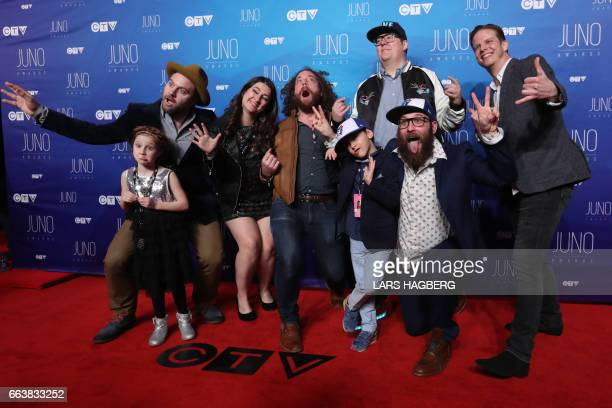 The Strumbellas arrives on the red carpet before the JUNO awards at the Canadian Tire Centre in Ottawa Ontario on April 2 2017 / AFP PHOTO / Lars...