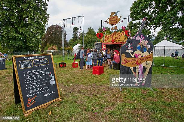 The Strumpets with Crumpets food stall during the second day of Green Man Festival at Glanusk Park on August 16 2014 in Brecon United Kingdom