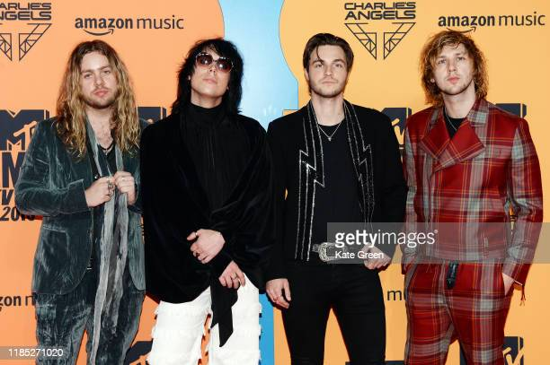 'The Struts' Adam Slack Luke Spiller Jed Elliott and Gethin Davies attends the MTV EMAs 2019 at FIBES Conference and Exhibition Centre on November 03...