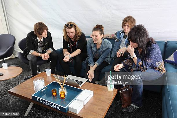 The Struts and Artist Marketing Associate at Pandora Heather Ellis during the PANDORA Discovery Den SXSW signing up for AMPcast on March 17 2016 in...